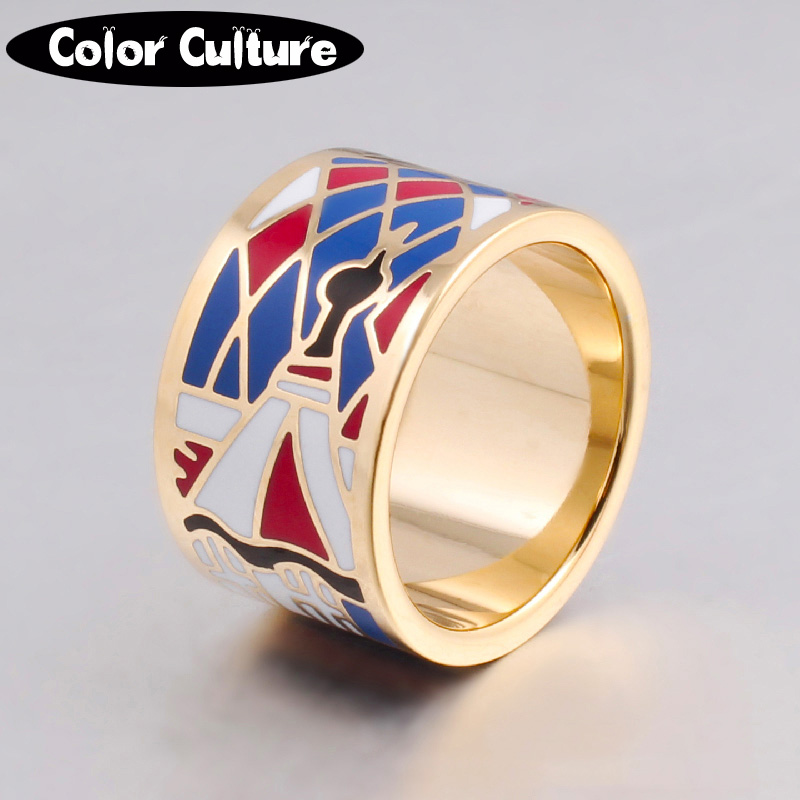 Nye ankomster Ringer i rustfritt stål for kvinner Gullfargede design De rike og fargerike mote emalje ringene