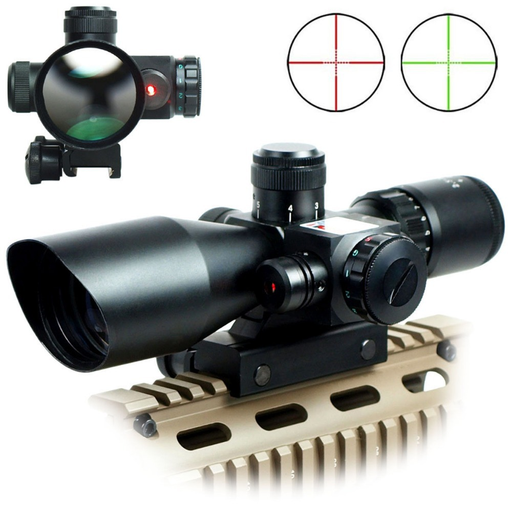 Airsoft Riflescopes Hunting 2.5-10x40E/R Tactical Rifle Scope Mil-dot Dual illuminated w/ Red Laser & Mount Free shipping 3 10x42 red laser m9b tactical rifle scope red green mil dot reticle with side mounted red laser guaranteed 100%