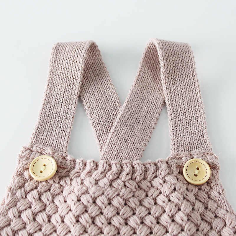 Новый вязаный детский комбинезон для девочек и мальчиков, осенне-зимний комбинезон для младенцев, хлопковый комбинезон без рукавов для малышей, комбинезон, детская одежда