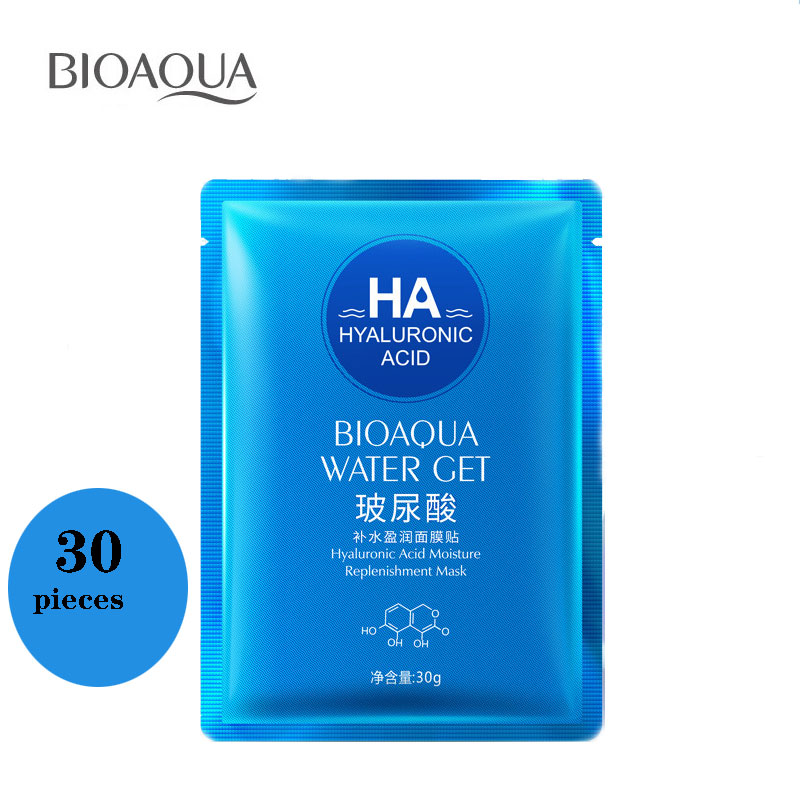 BIOAQUA 30 Pieces Hyaluronic Acid Liquid Whole Face Mask Moisturizing Whitening Unisex Skin Care Makeup