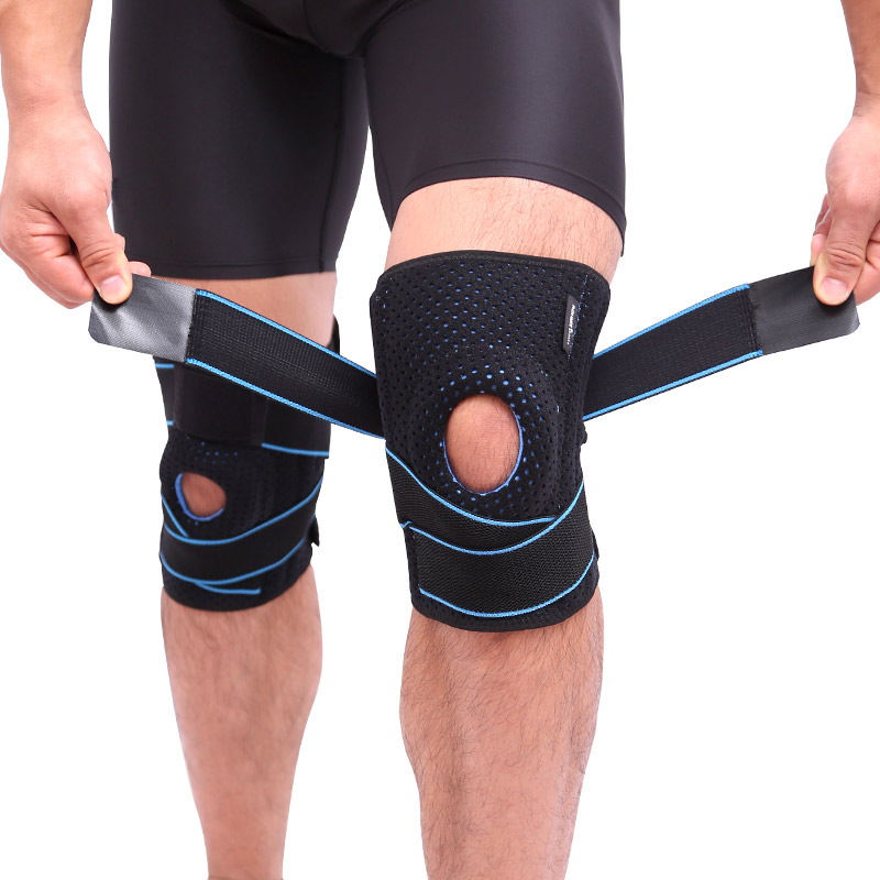 AOLIKES apoyo Coolfit secado rápido gel 4 primavera estabilizador deportes KneePad Brace Patella rodillas agujero rodilla Protector