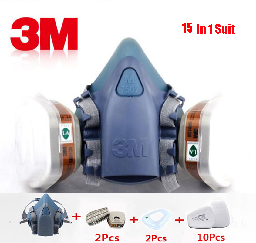 Painting Spray 3M 7502 Respirator Gas Mask 15 In 1 Suit Facepiece Industry Safety Work Proof Dust Mask