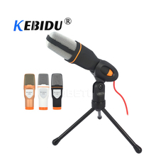 kebidu New 3.5mm Audio Wired Stereo Condenser SF 666 Microphone With Holder Stand Clip For PC Chatting Singing Karaoke Laptop