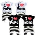 Nuevo Bebé ropa de verano ropa de niños sets de manga corta t-shirt + pants suit set de ropa AMOR mamá y papa conjuntos Niño Ropa de bebes