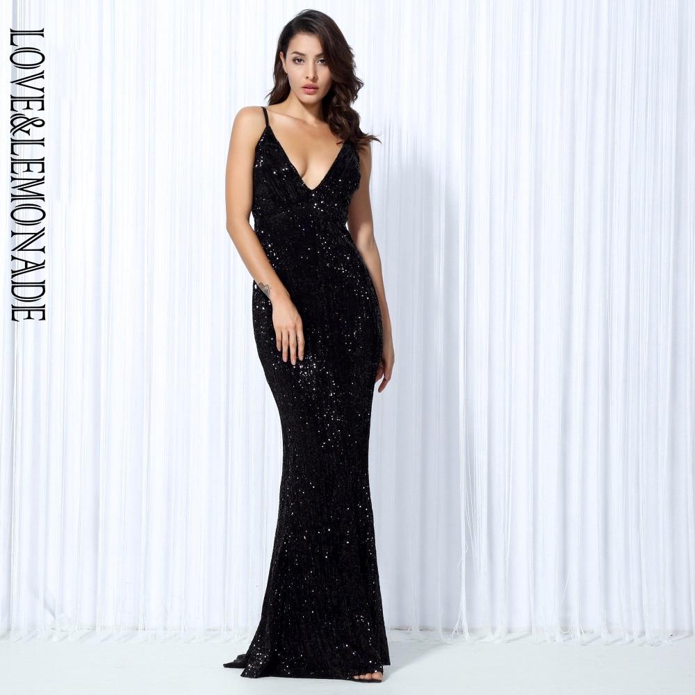 Love&Lemonade  Black Elastic Sequin V Collar Exposed Back Long Dress LM80119BLACK-in Dresses from Women's Clothing    1