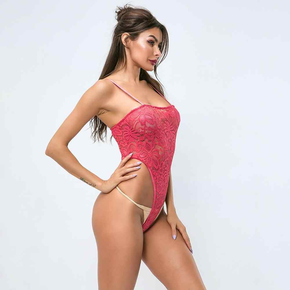 Cryptographic Pink Sexy Backless Lace Bodysuit Women One Piece Body Feminino Sheer Teddy High-Cut Straps Bodysuits Open Crotch