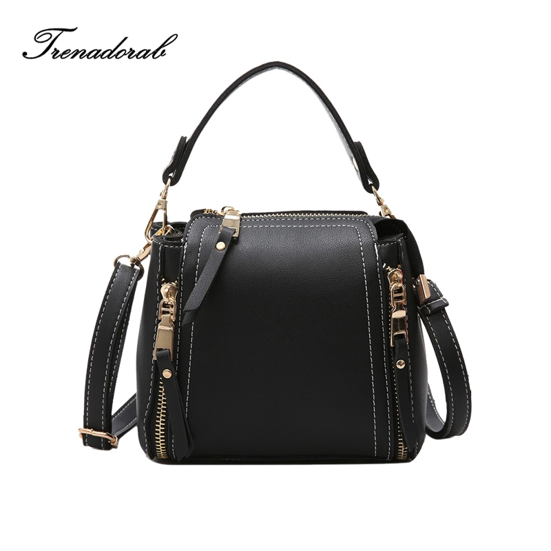 Brand Vintage Leather Female Top-handle Bags Small Women Bags Two Side Zipper Shoulder Bag Casual Clutch Messenger Bag mochila retro leather women messenger bags small female shoulder bags luxury top handle bag leisure mini leather bolsos flap stb002