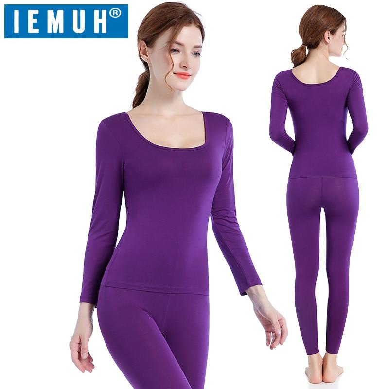 IEMUH Autumn Winter Thermal Underwear Sets Women Brand Stretch Women's Thermo Underwear Female Warm Long Johns Modal Underwear