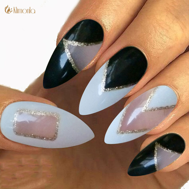 Aliexpress Buy New Stiletto Nails Tip False Nails With Glue