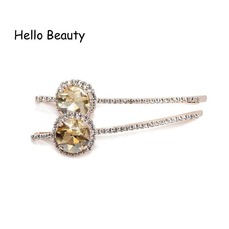 1 par koreansk mote nytt hår tilbehør rosa krystall hår barrette - Mote smykker - Bilde 5