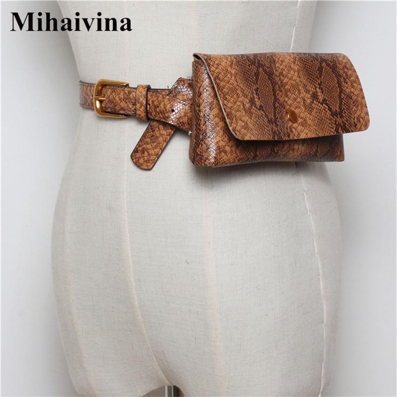 Mihaivina Women Waist Bags Personality Lady Leather Belt Bag Serpentine Vintage Fanny Pack Luxury Female Hip Hop Bag Waist Pack