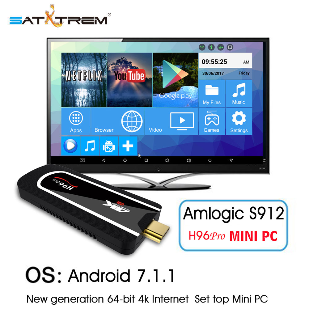 H96 Pro Android 7.1 TV Box Amlogic S912 Octa-core 2G 8G Mini PC TV Stick 2.4G Wifi BT4.1 H.265 4K Media Player Smart TV Dongle цена