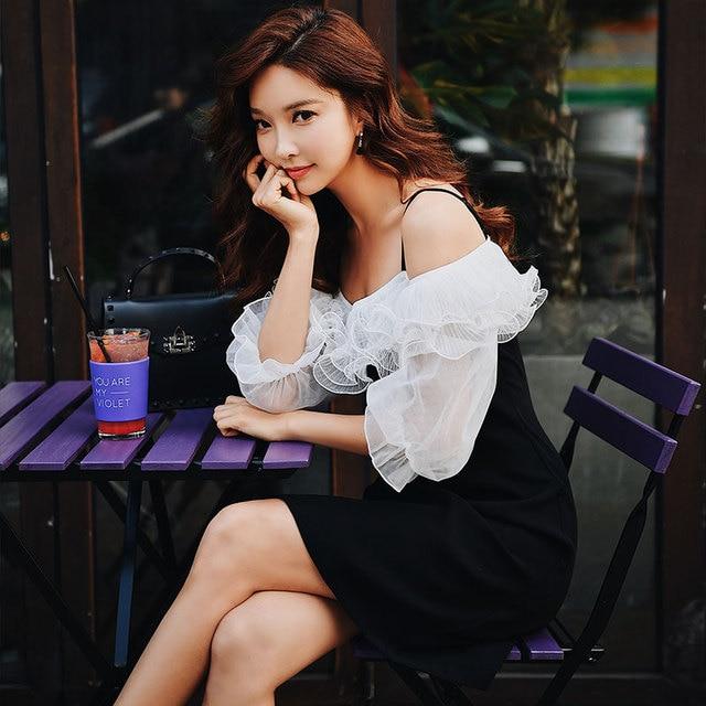 Dabuwawa Spring New Halter Vintage Ruffles Midi Dress 2019 New Fashion A-Line Lattern Sleeve Sexy Dresses DN1ADR017