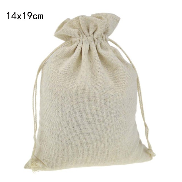 Relatively 14x19cm 100% Cotton Handmade muslin gift bags Fabric Drawstring  WZ27