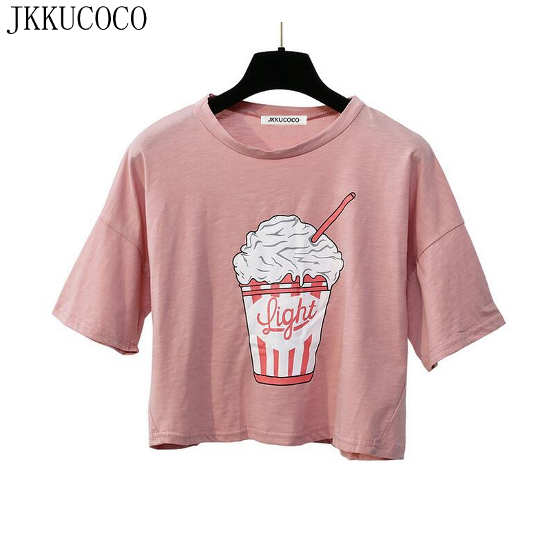 JKKUCOCO Short Loose T shirt Ice cream Print Hot Sell Cotton t shirt Women t shirts Tops tee Short Sleeve Casual shirt 2 Colors