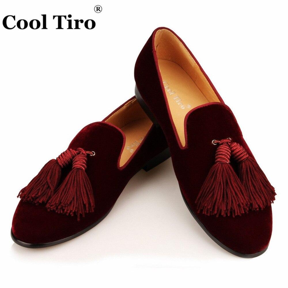Fajne Tiro burgundowe aksamitne mokasyny męskie mokasyny frędzle smokingowe kapcie ręcznie robione buty suknia ślubna buty na co dzień mieszkania formalne w Buty wizytowe od Buty na  Grupa 1