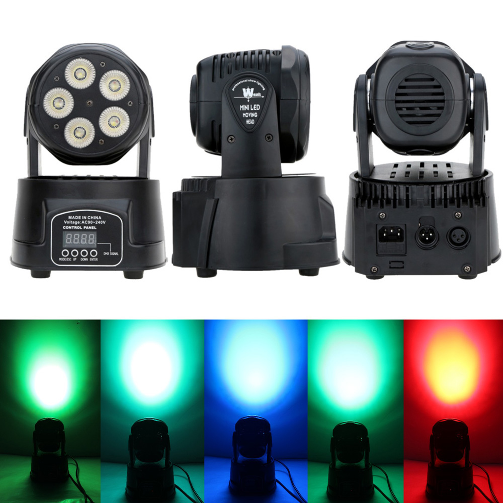 Sound Control Auto Rotating 75W 5 LED 10/15 Channels Colors Changing Moving Head Stage Light Wash Lamp for Disco KTV Club Party