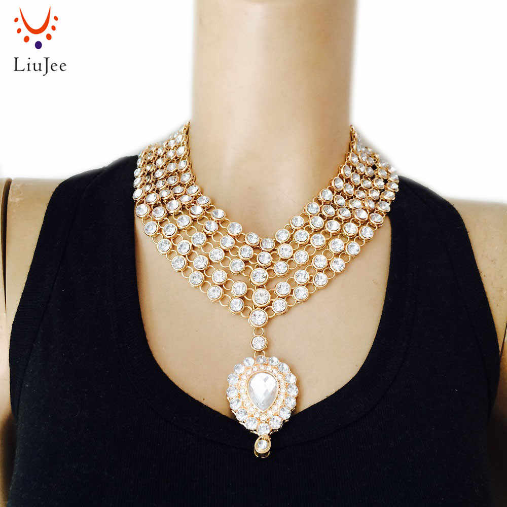 LiuJee Designer Gold Color Bollywood Party wear Kundan Jewelry Necklace Wedding Bridesmaids Party Prom NK-017