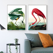 HAOCHU Nordic Canvas Decorative Painting Modern Red And Green Flamingo Animal Personality Home Living Room Bedroom Wall Picture
