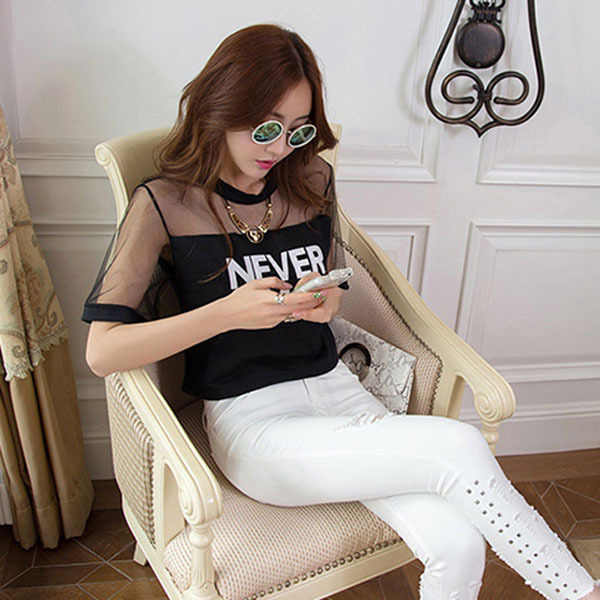 Patchwork Mesh See-Through Top Wanita Round Leher Lengan Panjang Kaos Hitam Gaya Korea Wanita Elegan T-shirt Tanaman atasan Wanita