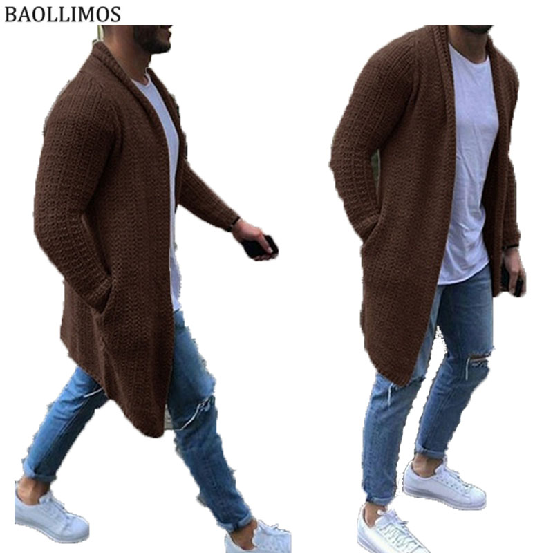Cardigan Sweater Coat 2019 New Men Autumn Winter Solid Color Sweaters Casual Warm Knitting Jumper Men Sweater