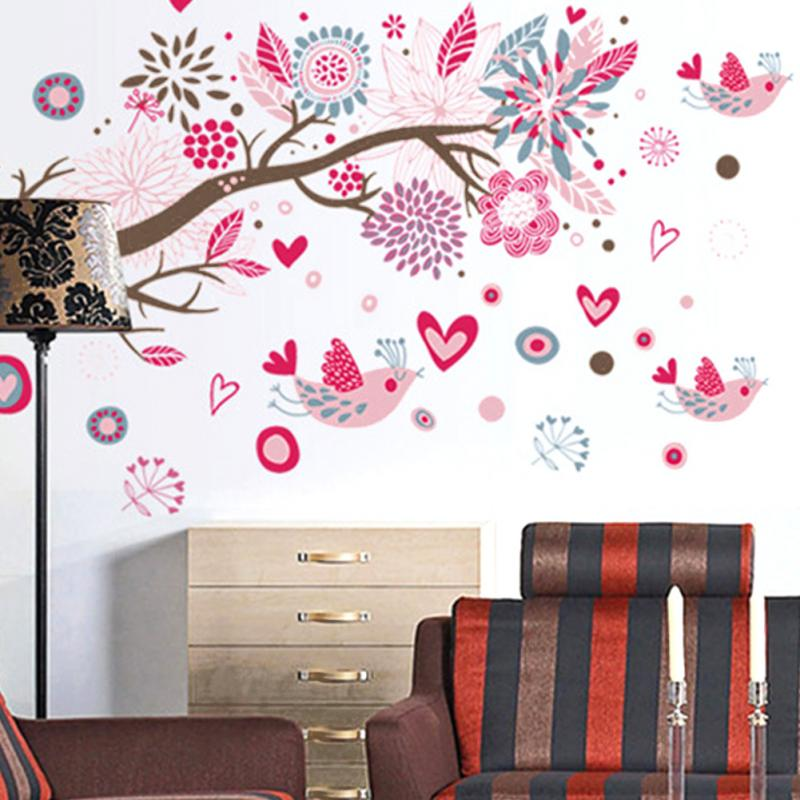 Newest Bohemian Style Birds & Floral Branch Removable Wall Sticker Home Decals living room decoration