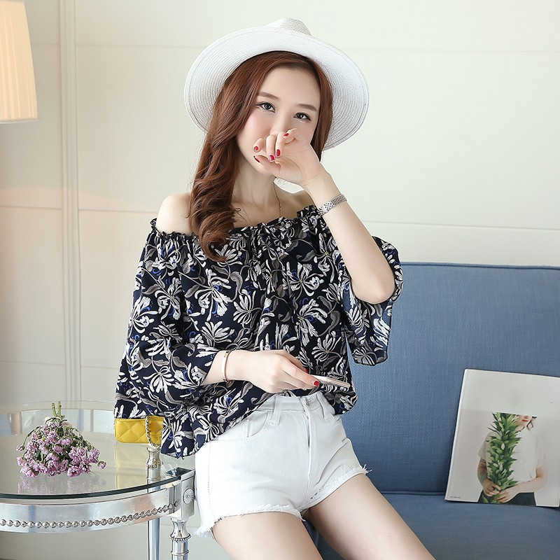 Floral Mujer Femenina Gasa Camisa 2019 De Mujeres Tops Las Impresión Blusas Verano Con Cuello Moda Blusa qZxn6Avg