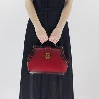 European Women Frame Handbag Female Shoulder Sling Bag Natural Leather Lady Office Handbag Simple Messenger Crossbody Bag 1