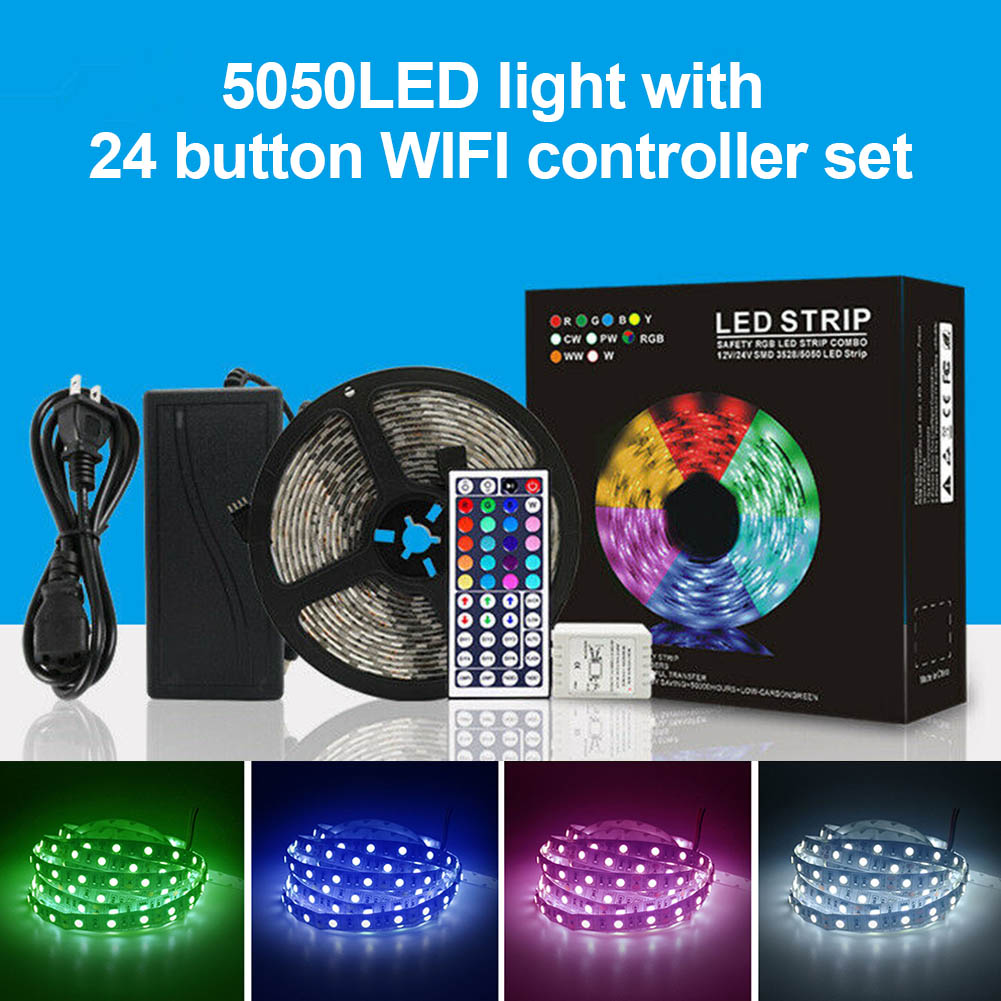 5050LED Light Strips with 24 Button Controller Set 5M Mobile Wifi App Smart Control MJJ885050LED Light Strips with 24 Button Controller Set 5M Mobile Wifi App Smart Control MJJ88