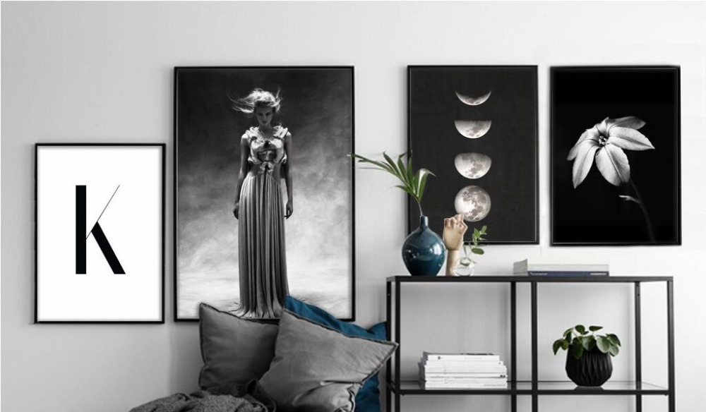 new nordic planeta blanco y negro canvas art print poster pared cuadros para la decoracin