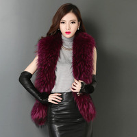 Natural raccoon dog fur and sheepskin leather patchwork waistcoats women crystal stone fashion fur vests sleeveless jackets