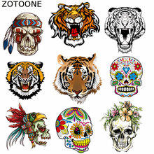 ZOTOONE Iron on Transfer Patches Cool Tiger Skull Washable Clothing Deco Diy Accessory Badges Appliqued Irons for Kids C