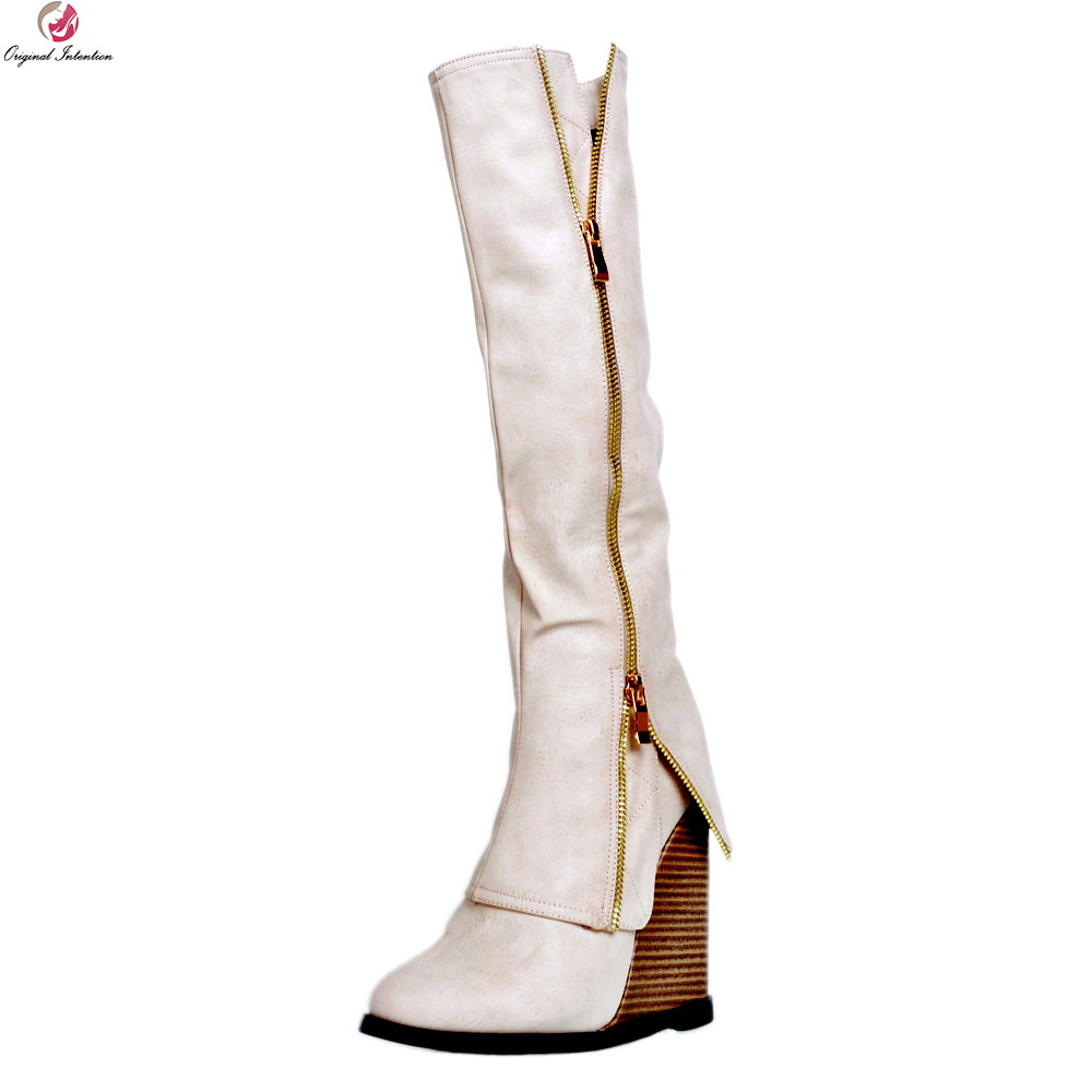 Original Intention New Design Women Knee High Boots Round Toe Wedges Heels Boots Elegant Shoes Woman Plus US Size 4-15 original intention elegant women knee high boots lace up round toe square heels fashion boots shoes woman plus size 4 15