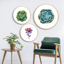 Busty world Ins meaty green plant Round decorative painting Nordic wall Livingroom diningroom creative mural with frame
