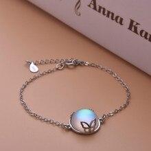 лучшая цена Silver-plated Butterfly Bracelets for Women Simple Inlaid Round Moonstone Charm Bracelet Moon Stone Fashion Jewelry