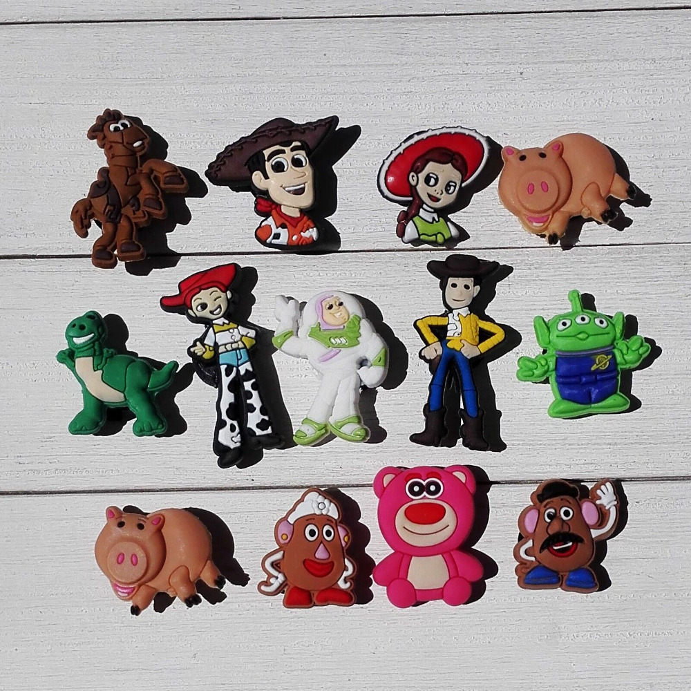 Single Sale 1pc Toy Story PVC Shoe Charms Shoe accessories Shoe decoration Shoe Buckles Accessories Fit For Croc JIBZ/Wristbands new condition 100pcs lot south park shoe accessories shoes decoration shoe charms fit wristbands kids christmas toys