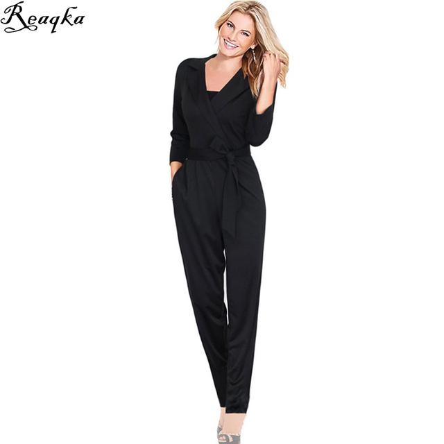 Trajes elegantes para las mujeres 2016 Nuevas Llegadas Otoño Invierno Casual bolsillo Delgado Playsuit Body Mamelucos de la correa v-cuello largo negro