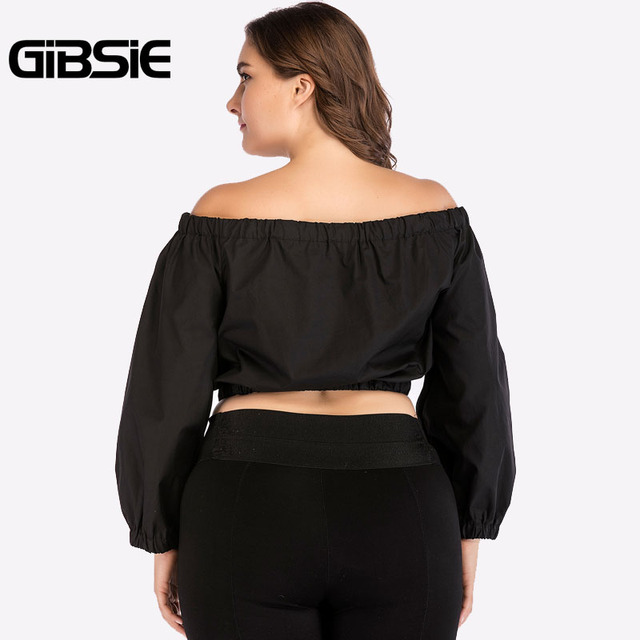 GIBSIE Plus Size Women Clothing Black Off Shoulder Top Tees 4XL Autumn Women Long Sleeve Crop Top 2018 Streetwear Casual T-Shirt 1
