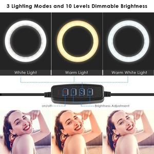 Image 5 - LED halka ışık 16cm 26cm 5600K 64 LEDs özçekim halka lamba fotografik aydınlatma Tripod ile telefon tutucu USB tak fotoğraf stüdyosu
