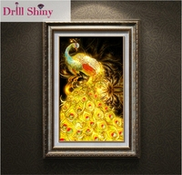 5D DIY Diamond Painting Cross Stitch Golden Peacock Mosaic Picture Full Square Rhinestone Drill Entranceway Embroidery