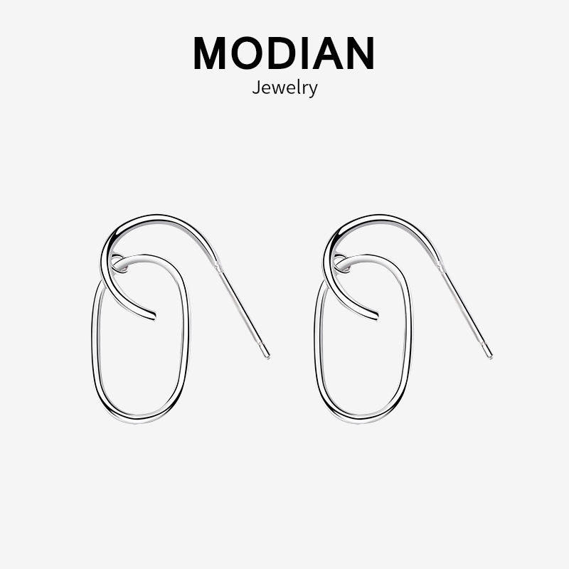 Modian 2019 New Sale Real 925 Sterling Silver Fashion Pin Style Hoop Earrings For Women Tiny Charm Fine Jewelry