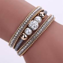 HOT Women Multilayer Bangle Bracelet Crystal Beaded Trinket Leather Magnetic Wristband Bracelets Jewelry Accessories Wristlet(China)