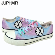 JUP Shoes Men Mans Girl Hand-painted Flats EXO Galaxy Colorful Footwear Mens Shoes Sales Chaussure Mary Jane Ballet Espadrilles