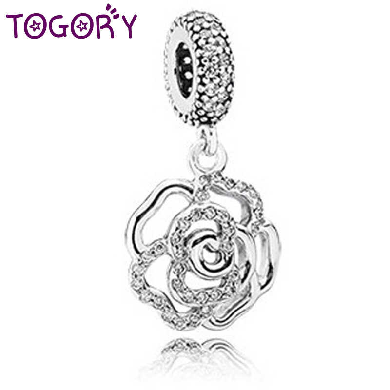 Beads Togory 2pcs/lot 3 Colors Silver Color Flower Pendant Fit Pandora Bracelet Necklace Original Charm Accessories With Clear Cz Ture 100% Guarantee