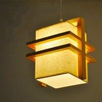 Wood lamp Nordic Japanese dining chandelier American creative fabric restaurant tatami man coffee living room chandelier