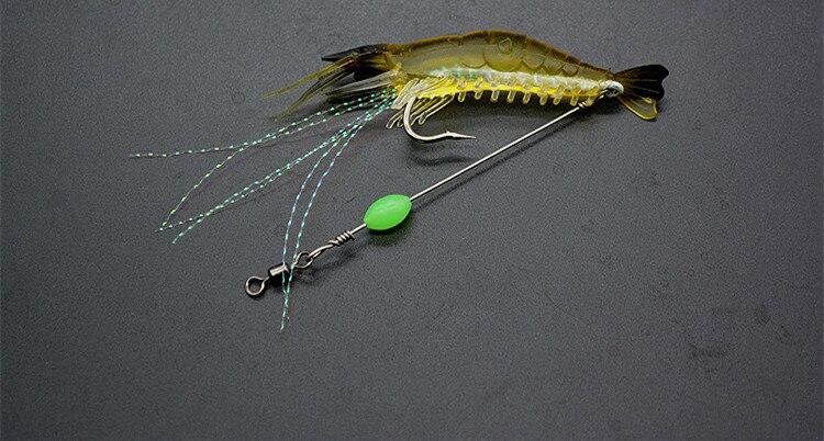 5Pcs Shrimp Prawn Lures Bass Coarse Sea Fishing Mackerel Salmon Baits Hooks