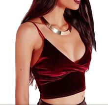 Newest Sexy Deep V-neck Short Velvet Vest Camis Tops