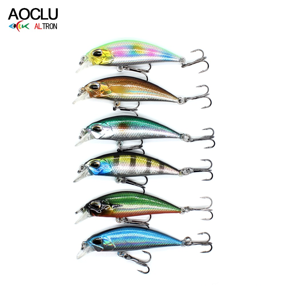 AOCLU wobblers 6 pcs/lot Jerkbait 6 Couleurs 4.5 cm 4.0g Dur Appât Petit Minnow Crank leurres de pêche s'attaquer naufrage leurre livraison gratuite