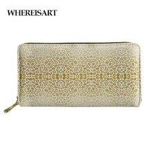 WHEREISART Long Zipper Wallet Gold Leopard Print Wallets Women Card Holder Zipper Coin Ladies Money Bag Monederos Para Mujer