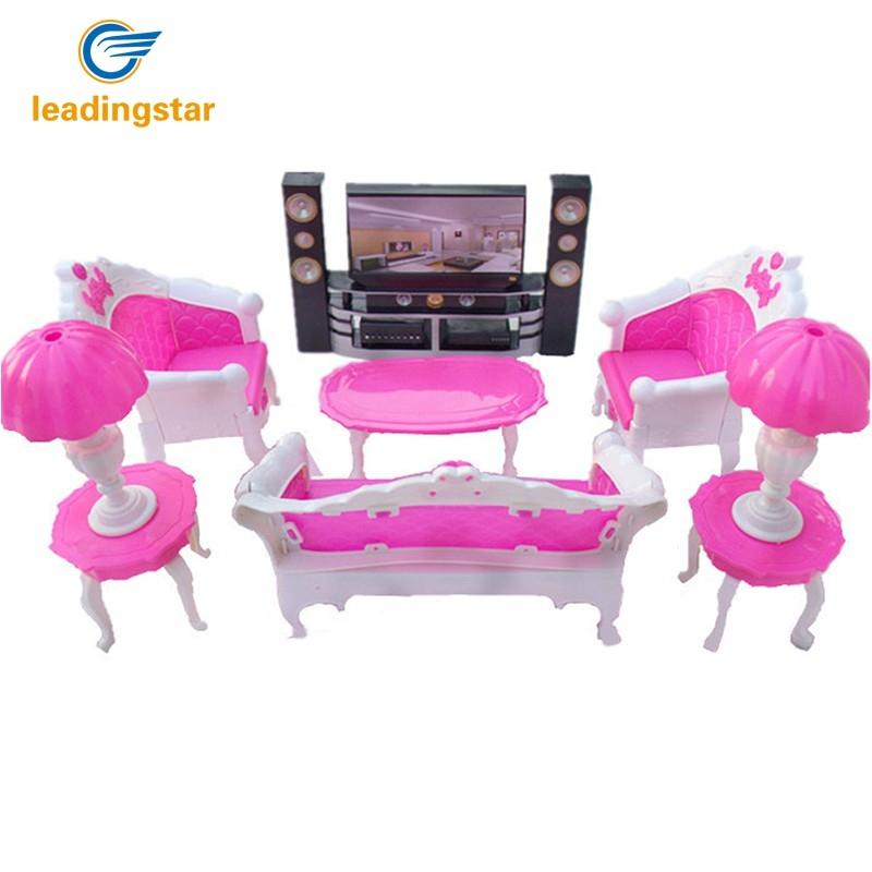 LeadingStar Dolls Accessories Pretend Play Furniture Set Toys for Barbie Dolls as Xmas Gifts for Kids Living bedroom